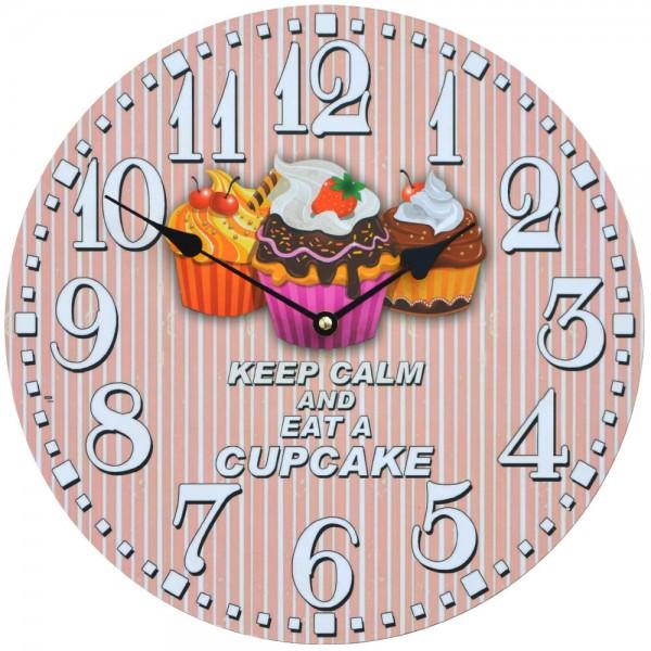 Wanduhr Keep Calm Cupcake 34 cm