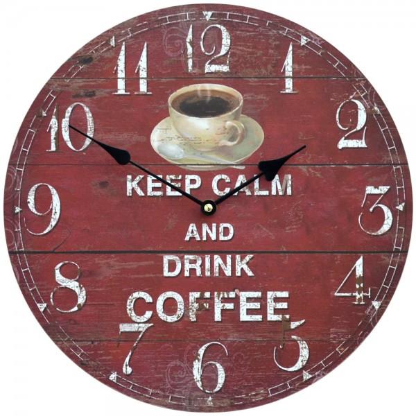 Wanduhr Keep Calm Coffee 34 cm