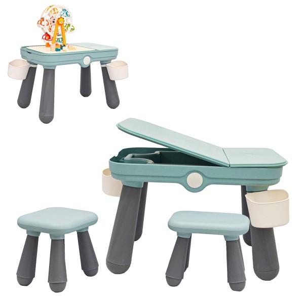 3-in-1 Kinder Spieltisch Kompatibel mit LEGO DUPLO Kindertisch mit 2 Stühlen