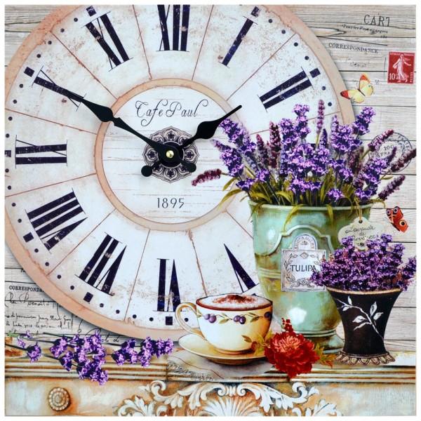 Wanduhr Lavendel Cafe Paul 40 x 40 cm