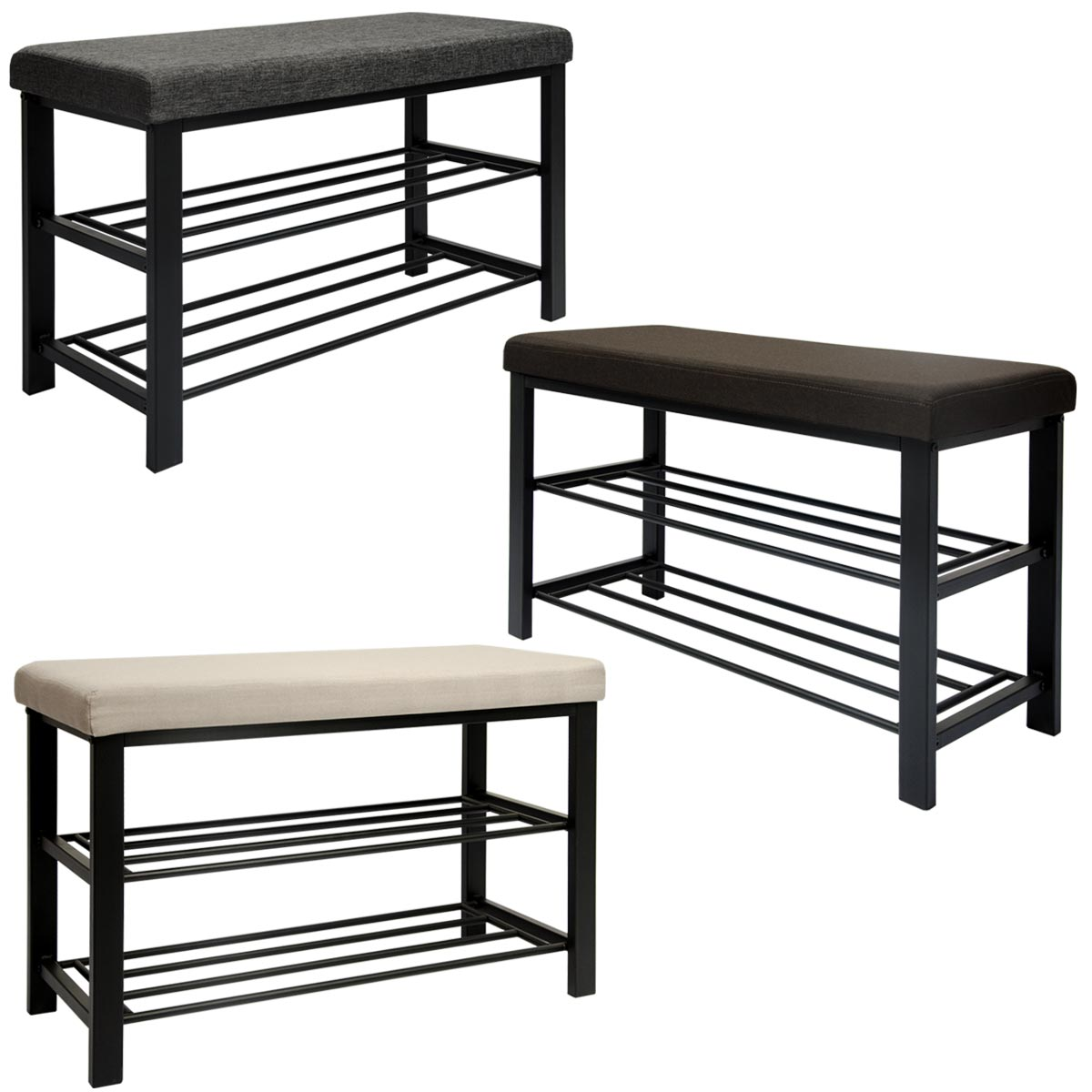 schuhregal mit sitzbank aus metall 81x32x46 cm schuhbank. Black Bedroom Furniture Sets. Home Design Ideas