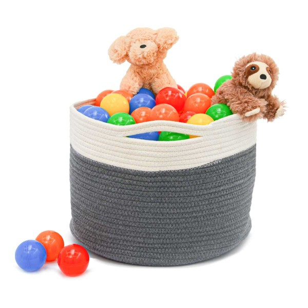 Ø34x25 Baumwoll Seilkorb 20L Aufbewahrungskorb Boho Wäschekorb Kinderzimmer Korb