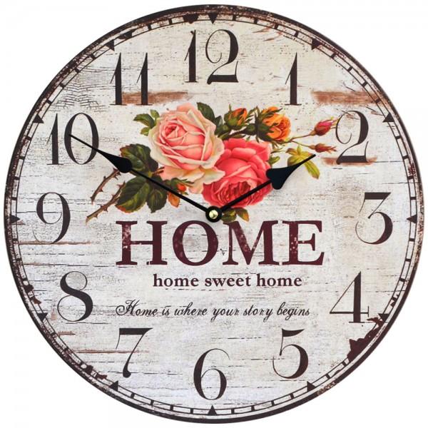 Wanduhr Rosen Sweet Home 34 cm