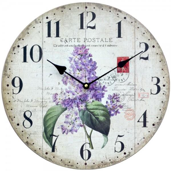 Wanduhr Lavendel Carte Postale 34 cm