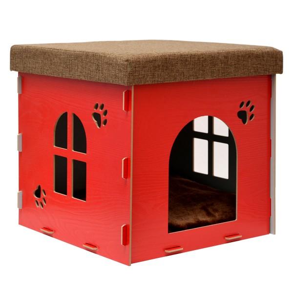 Katzenhöhle 38x38x38cm Sitzhocker Sitzwürfel inkl Katzenhaus Kuschel Höhle Rot