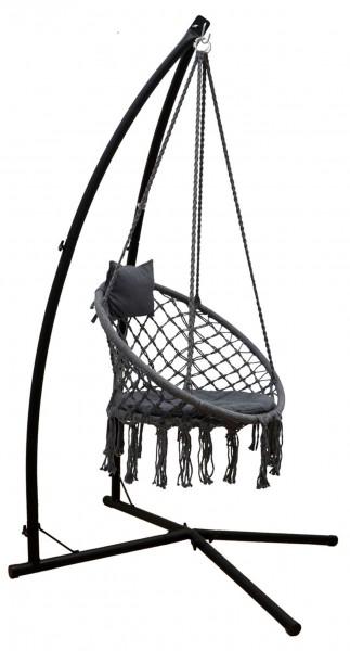 Hängestuhlgestell mit Makramee Hängesessel 215cm Boho Hängestuhl bis 120kg grau
