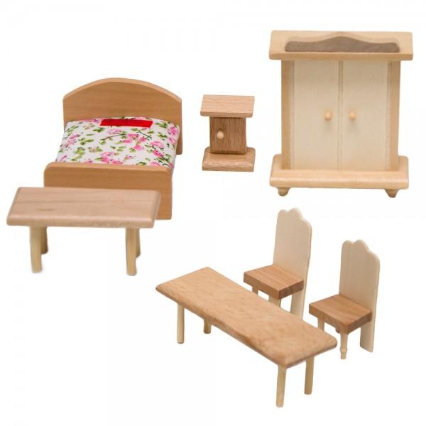 Puppenmöbel Set 1 Schlafzimmer