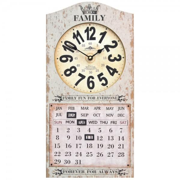 Wanduhr mit Kalender Family Fun Beige 25 x 50 cm