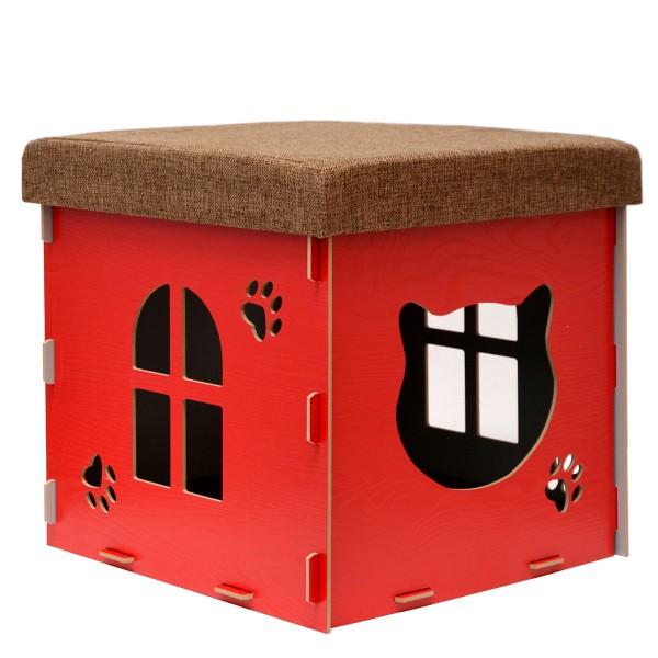 Katzenhöhle 38x38x38cm inkl. Kratzbrett Katzenhaus im Sitzhocker Sitzwürfel Rot