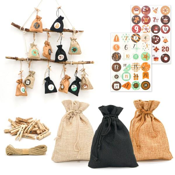 DIY Adventskalender zum Befüllen - 24 Geschenk Säckchen - Komplettes Bastelset