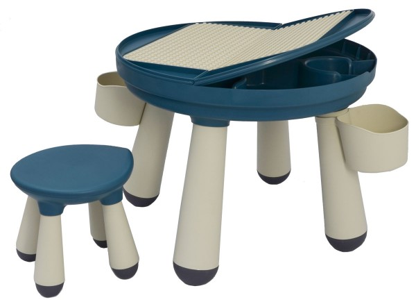 3-in-1 Kinder Spieltisch kompatibel mit LEGO DUPLO - Kindertisch mit Stuhl ab 1