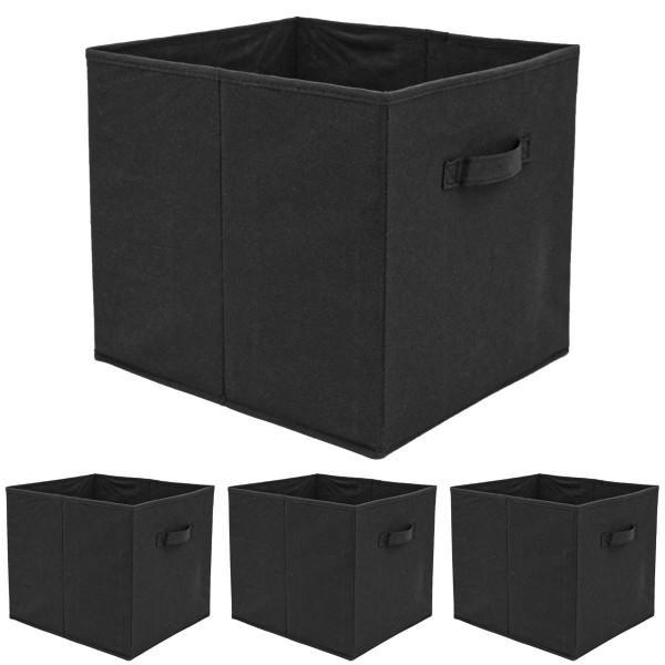 4er Set Aufbewahrungsbox für Kallax Regal 33x38x33 Box mit Griff Faltbox Schwarz