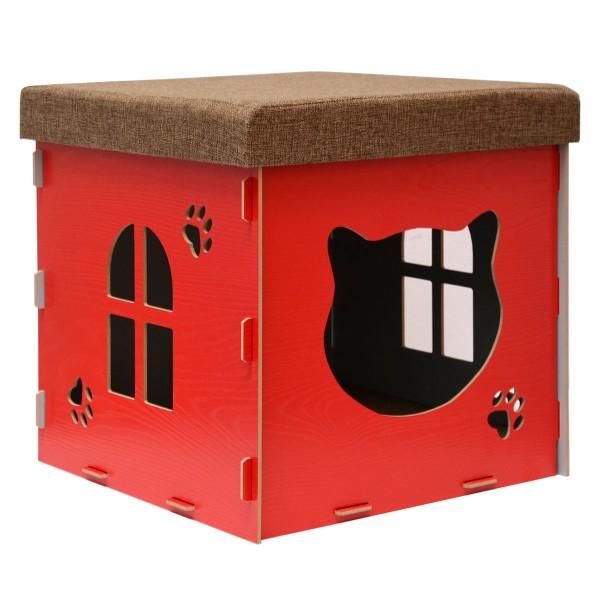 Katzenhöhle 41x41x41cm inkl. Kratzbrett Katzenhaus im Sitzhocker Sitzwürfel Rot