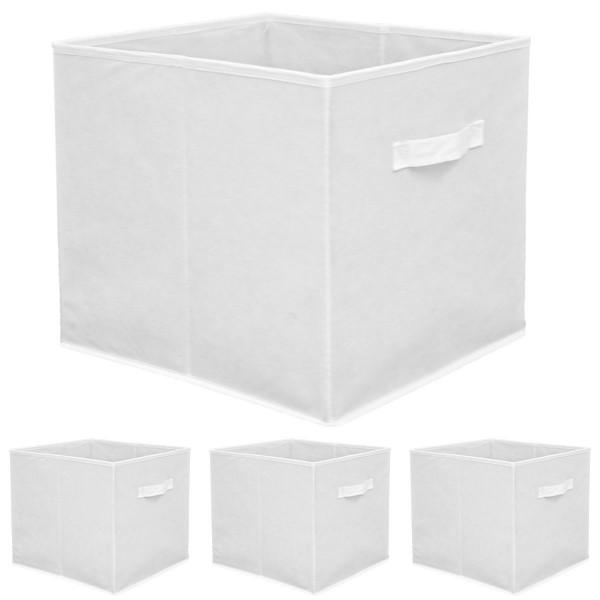 Faltbox Set 4 Boxen für Kallax Regal weiß 33x38x33cm Expedit Box mit Stoffgriff
