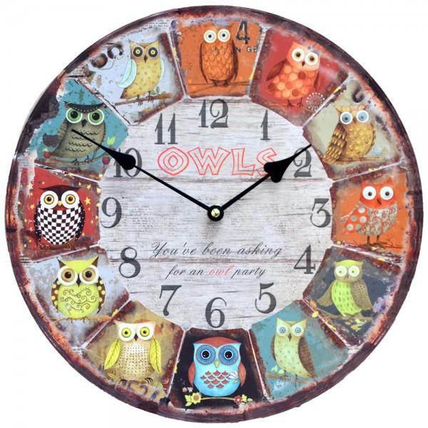 Wanduhr Eulen Owl Party 34 cm
