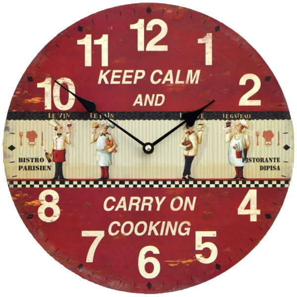 Wanduhr Keep Calm Cooking 34 cm