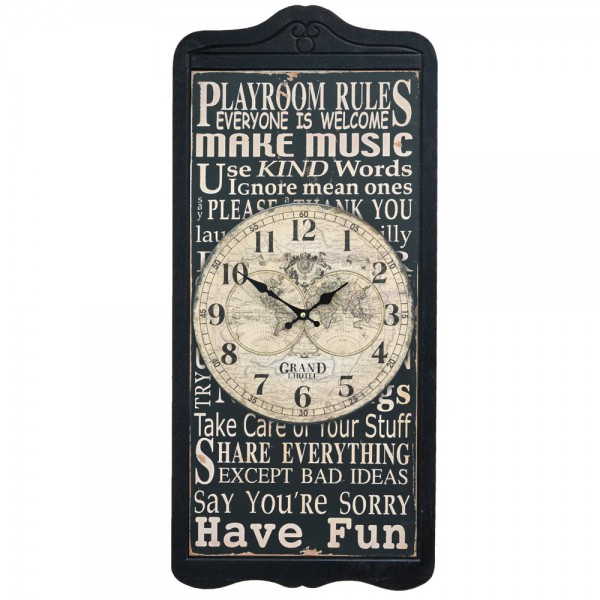 Wanduhr Playroom Rules 32 x 72 cm