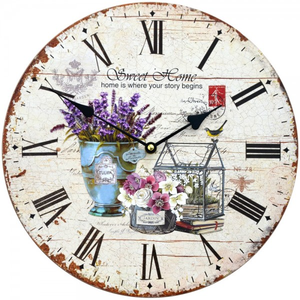 Wanduhr Lavendel Sweet Home 34 cm
