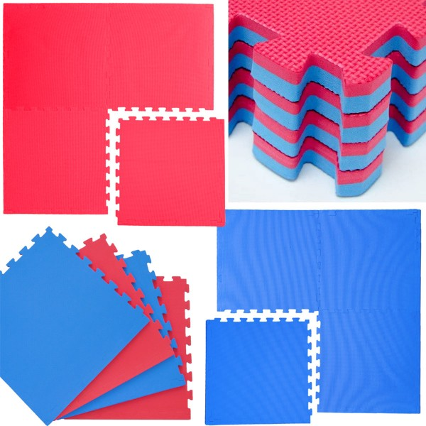 4 Bodenmatten 63x63cm 2cm Puzzlematte Fitnessmatte Sportmatte Gymnastik Rot Blau
