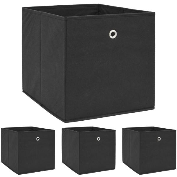 4er Set Aufbewahrungsbox für Kallax Regal 33x38x33 mit Öse Faltbox Schwarz