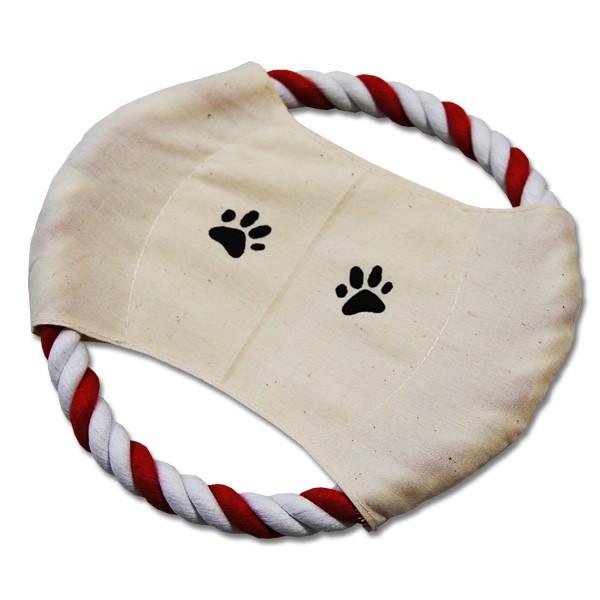 Tierspielzeug Hund Frisbee rot/weißes Tau ca. 20 cm Durchmesser
