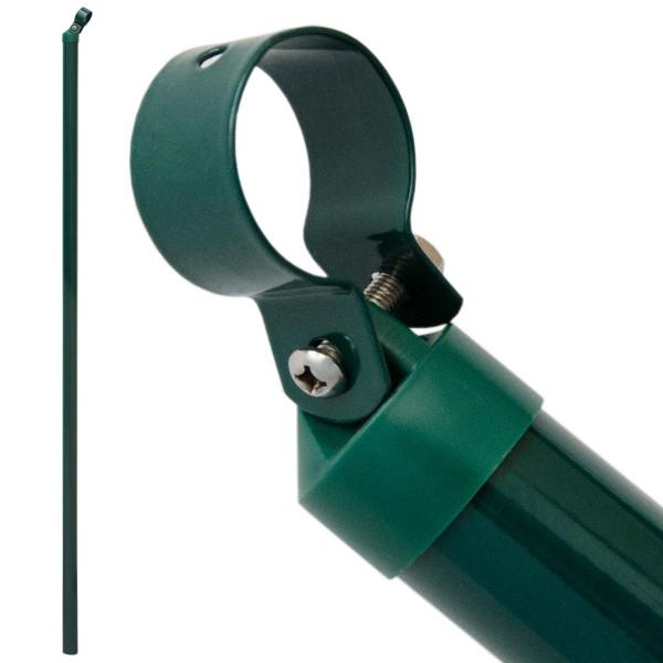 Zaunstrebe 150 cm Stützstrebe Ø 34 mm Gartenzaun-Strebe inkl. Abdeckkappe mit Kabel-Schelle