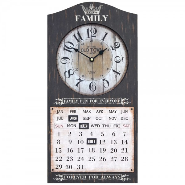 Wanduhr mit Kalender Family Fun Braun 25 x 50 cm