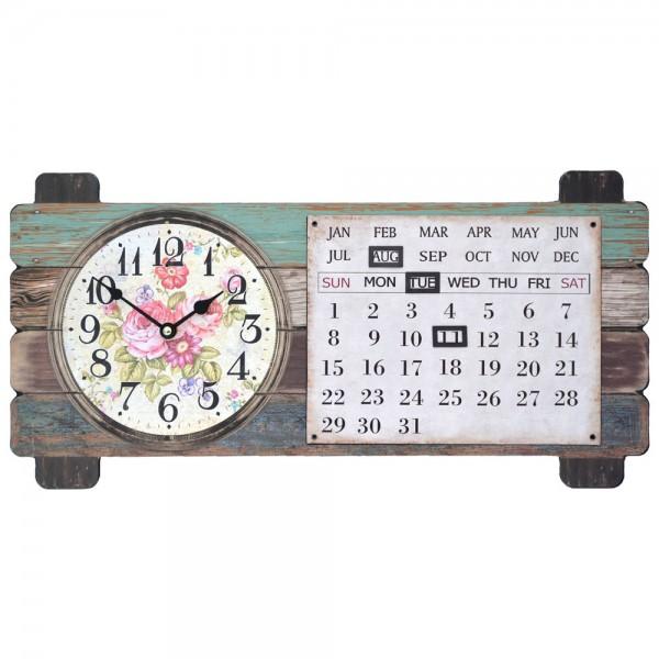 Wanduhr mit Kalender Landhaus Rosen 50 x 25cm