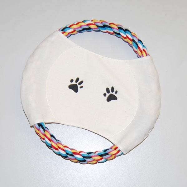 Tierspielzeug Hund Frisbee buntes Tau ca. 20 cm Durchmesser