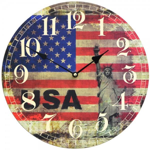 Wanduhr USA Flagge 34 cm